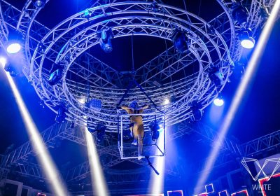 White Dubai entertainers, carried in live show with Chain Master electric chain hoists